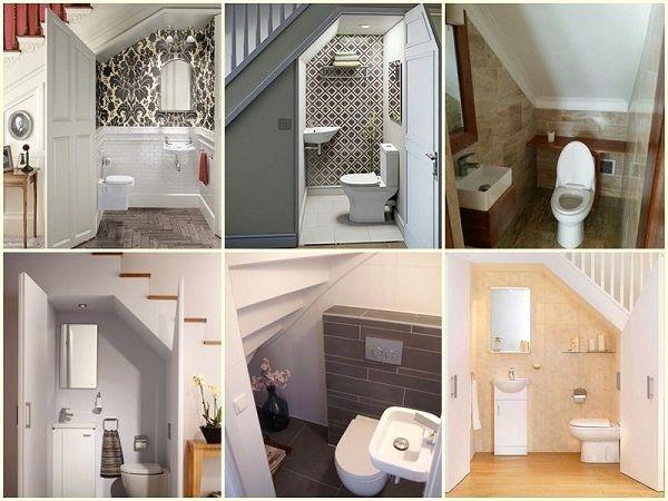 Những mẫu thiết kế nhà vệ sinh dưới cầu thang tiện lợi